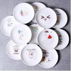 Керамічна тарілка блюдце 14 см стильний малюнок набір 4шт