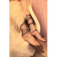 Носочки кружевные полупрозрачные в мелкий горошек, разные расцветки