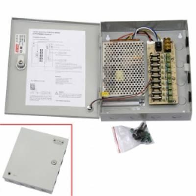 Блок живлення в металевому ящику для камер CCTV, 9-кан 12В 10А 120Вт