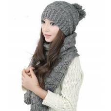 Вязаные шапка и шарф осень-зима