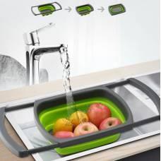 Корзина в раковину для мытья фруктов и овощей, Складной дуршлаг