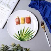 Керамічна тарілка малюнки рослин 26 см