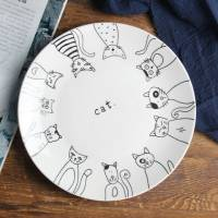 Стильна керамічна тарілка малюнок кішки 20 см