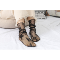 Шкарпетки напівпрозорі з квітковим мереживом