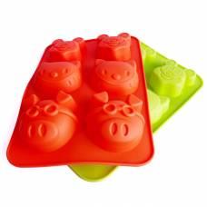 Силіконові формочки для тістечок, кексів, мафінів, капкейків, тортів, 26х17 см. свинка міккі кот
