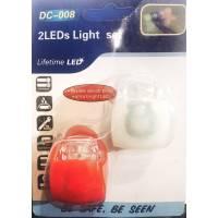 Силиконовая мигалка пара 2шт. универсальная XJ-2208 лягушка красный белый свет