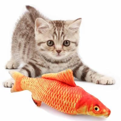 Мягкая игрушка рыба красный карп 40 см. для кошек кота с кошачьей мятой