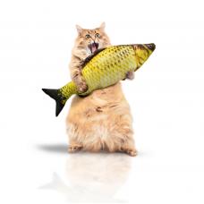 Мягкая игрушка рыба карась 40 см. для кошек кота с кошачьей мятой