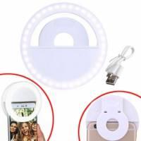 Кільцева LED лампа для селфі на смартфон кліпса, прищіпка, c АКБ