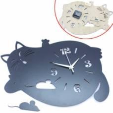 Часы настенные декоративные Толстый ленивый кот 43см