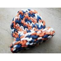Модна шапка з вовни мериноса велика в'язка трьохколірна білий синій помаранчевий