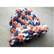 Шапка з вовни мериноса хельсінкі груба в'язка триколірна білий синій помаранчевий