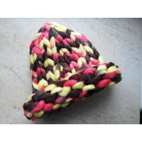 Модна шапка з вовни мериноса велика в'язка трьохколірна жовтий коричневий рожевий