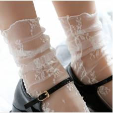 Носочки полупрозрачные с цветочным кружевом