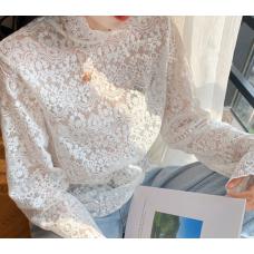 Прозора мереживна сіткова кофточка з довгими рукавами для дівчат