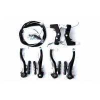 Комплект тормозов V-brake задний+передний в сборе 80мм+рычаги+троса, черные SYPO