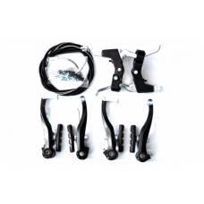 Комплект тормозов V-brake задний+передний в сборе 120мм+рычаги+троса, черные SYPO