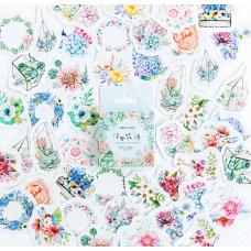 """Наклейки """"Квітковий рай"""", стікери, 45 шт"""