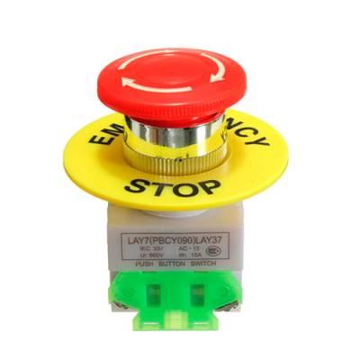 Кнопка аварийного отключения 40мм 660В 10А 1NO+1NC с фиксацией грибок