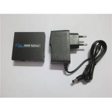 Спліттер HDMI (1 in -> 2 out) активний, 2 порта розгалужувач