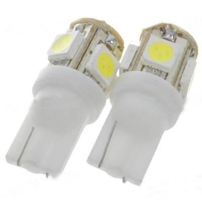 2х LED T10 W5W лампа в автомобіль, 4+1 SMD