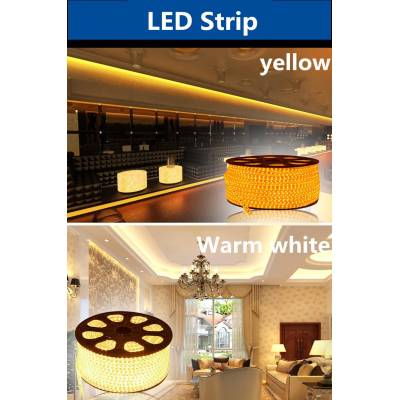 Светодиодная лента 220V SMD 3528 60 IP68 Желтая, yellow