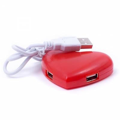 4-портовый USB-хаб сердце, сердечко, красное