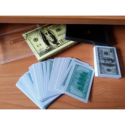 Гральні карти 54 штуки, пластикові, у вигляді 100$