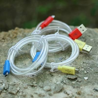 MicroUSB дата-кабель Samsung S3 S4 HTC, светящийся