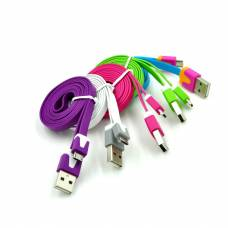 MicroUSB дата-кабель, LG, HTC, плоский, светящийся