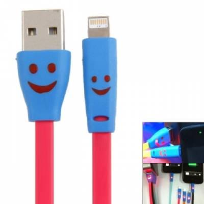 USB дата-кабель для Iphone 5 5C 5S 6, LED-смайл