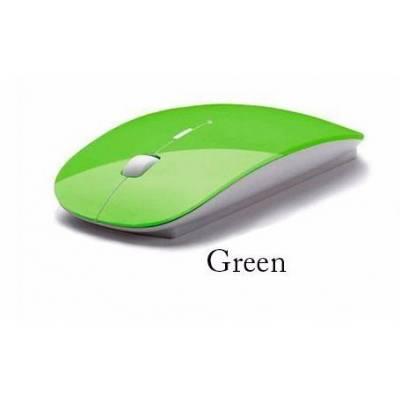 Супертонкая беспроводная радио мышь мышка, зеленая