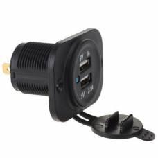 Встраиваемый адаптер 2x USB 5В в прикуриватель авто, зарядное