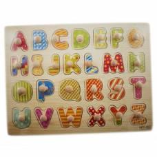 Навчальна дерев'яна дошка Сегена, рамки-вкладиші, англ. алфавіт