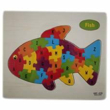 Навчальна дерев'яна дошка, рамки-вкладиші, пазл, рибка