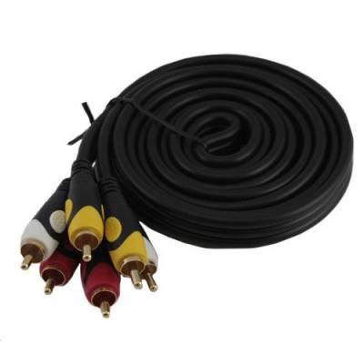 3 RCA – 3 RCA папа-папа AV кабель, тюльпаны, 1.8м