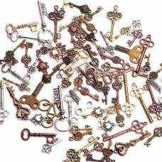Набор из 100 металлических подвесок шармиков, ключики