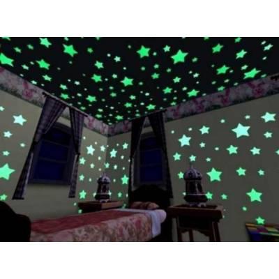 Звездное небо, светящиеся наклейки на потолок и стену 100шт