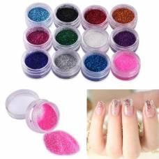 Декоративні блискітки глиттер для нігтів нейл-арт 12 кольорів, набір, блискітки для нігтів
