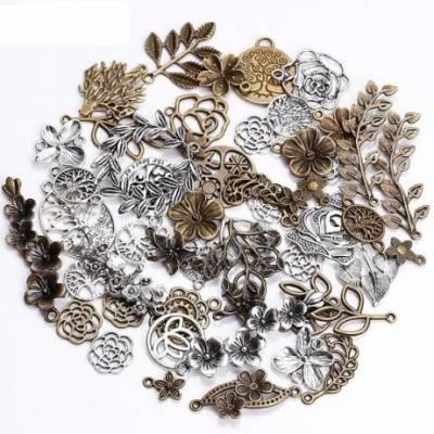 Набір зі 100 металевих підвісок шармиків, листя