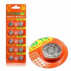 Батарейка-таблетка AG10 LR1130 LR54, алкалайн, 1 упаковка - 10 штук