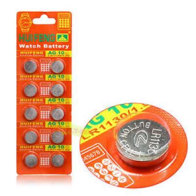 Батарейка таблетка AG10 LR1130 LR54, алкалайн, 1 упаковка 10 штук