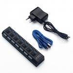 USB 3.0 Хаб на 7 портов USB 3.0 с выключателями + доп. питание