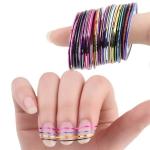 Клейкие ленты для ногтей, нейл-арт маникюр, 30 штук