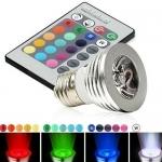 Светодиодная E27 LED лампа, 16 цветов с пультом ДУ