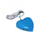 4-портовый USB-хаб сердце, сердечко, голубое