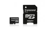 Карта памяти MicroSD 16ГБ кл10 Transcend + адаптер