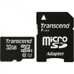 Карта памяти MicroSD 32ГБ кл10 Transcend + адаптер