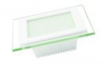 EUROLAMP LED cветильник квадратный стекло Downlight 6W 3000K (30)