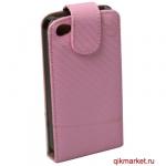 Чехол-книжка для IPhone 4 (белый розовый)